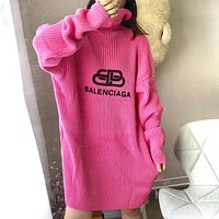 BALENCIAGA Fashion Women Casual Loose Long Sleeve High Collar Sweater Dress