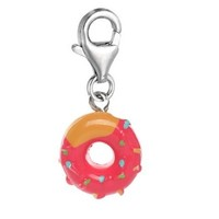 """Fuchsia Doughnut"" Clip On For Bracelet Charm Pendant for European Charm Jewelry w/ Lobster Clasp"