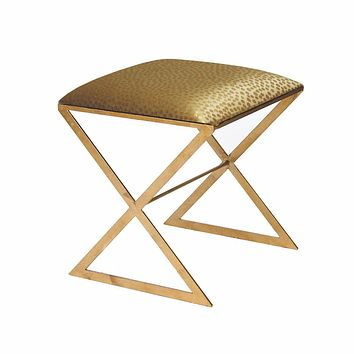 X Bench in Gold Leaf with Gold Fabric