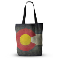 """Bruce Stanfield """"State Flag of Colorado"""" Black Red Everything Tote Bag"""