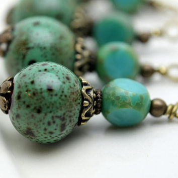 Vintage Style Turquoise Colored Porcelain and Turquoise Czech Bead Earring Dangle Pendant Charm Drop Set