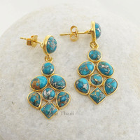 Copper Blue Turquoise Beautiful Handmade Designer Micron Gold Plated 925 Sterling Silver Earring - #1463