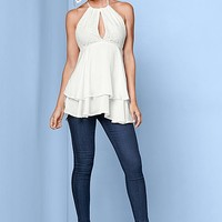 Double Flounce Lace Top in White | VENUS
