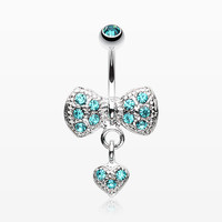 zzz-Dangle Heart Bow-Tie Belly Button Ring