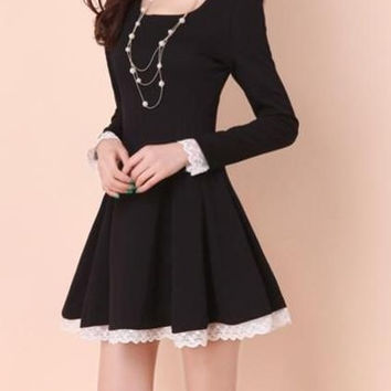 2015 spring and autumn clothing of new Korean girls long sleeved slim lace dress skirt (Asia Size S/M/L/XL/XXL) = 1931992836
