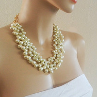 Wedding Jewelry Bridesmaid Pearl Necklace Chunky Cream Pearl Necklace Bridal Jewelry Accessories