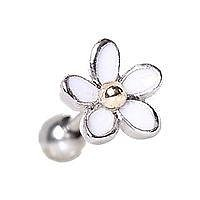 Surgical Steel Sweet White Daisy Flower Cartilage Earring