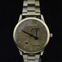 Fashion Women Mens Bicycle Retro Copper Steel Strap Watch Best Christmas Gift