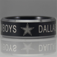 Free Shipping YGK JEWELRY Hot Sales 8MM Dallas Cowboys Design Men's Black Tungsten Comfort Fit Ring