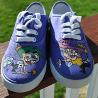 WOW Funny Cosmo and Wanda Hand Painted Sneakers size 5 womens or 3 boys