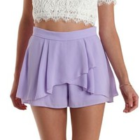 Lavender High-Waisted Tulip Ruffle Shorts by Charlotte Russe