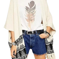 Stylish Geometric Knitted Open Front Cardigan