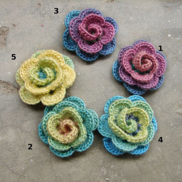 Flower brooch, crocheted shawl pin, pastel colors applique, choose the one you like, 4 available