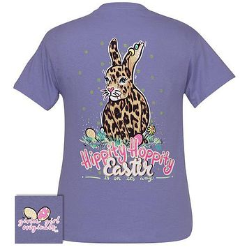Girlie Girl Originals Preppy Hippity Hoppity Easter Leopard Rabbit T-Shirt
