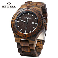 BEWELL Wooden Quartz Watch with Calendar Display - Men -Watches Casual Wood Male Wristwatch #new fashion