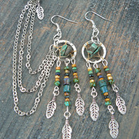 turquoise dreamcatcher chained ear cuff   cross cuff in boho gypsy hippie hipster native american  inspired and tribal style