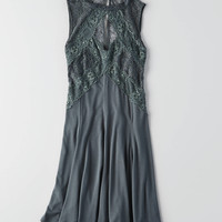 AEO Paneled + Lace Fit & Flare Dress, Teal