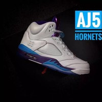 "Air Jordan 5 Retro AJ5 ""Hornets"" Leather Basketball Shoes"