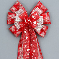 Red Silver Swirl Heart Valentine's Day Bow