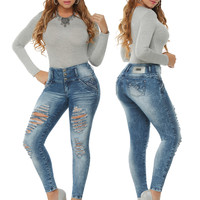 Sexy Distressed Blue Skinny Jeans