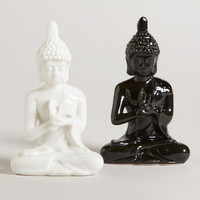 Assorted Black and White Ceramic Buddhas, Set of 2