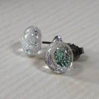 Mother of Pearl, Sparkling Studs, Titanium Hypoallergenic Post & Backing, Dichroic Glass, Fused Glass, Swedish Handmade,