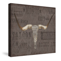 Longhorns Taupe I Canvas Wall Art