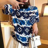 Louis Vuitton LV New Couple Printed Colorblock Casual Top T-shirt