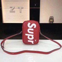 """Louis Vutitton LV×Supreme"" Fashion Logo Letter Small Square Bag Single Shoulder Messenger Bag"