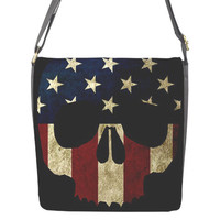 American Skull lg messenger bag with removable flap