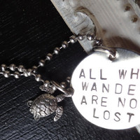 Silver Sea Turtle Necklace All Who Wander are by SugarandSoySauce