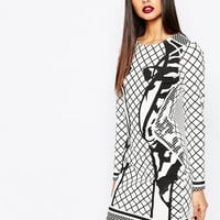 AQAQ Deity Allover Print Mini Dress