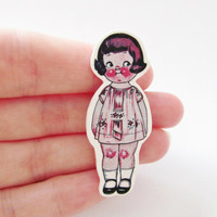 Dolly Dingle Peggy in Pink Illustrated  Brooch - Shrink Plastic Pin