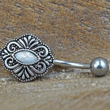 White Opal Belly Button Ring Vintage Style