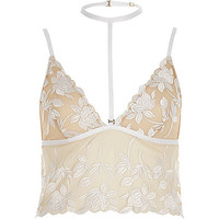 White and beige embroidered choker bralet