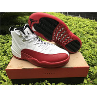 2017 Air Retro 12 Cherry White Varsity Red Black GS Basketball Shoes For Women Men High Quality Cheap For Sale With Boxes