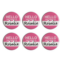 Rosalie Hello My Name Is Plastic Resin Button Set of 6
