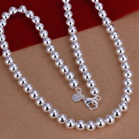925 Sterling Silver Necklace Hollow Beads Balls B20