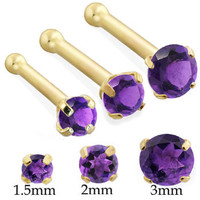 14K Real Gold (Nickel free) Nose bone with Round Amethyst