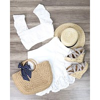 Final Sale - Somedays Lovin - Carry Away Eyelet Lace Crop Top - Off White