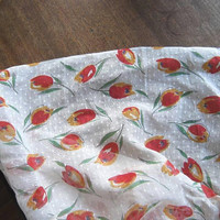 7 Yards of Slightly Narrow White/Green/Orange Tulip Printed Swiss Dot Fabric for Curtains, Home Projects, Blouse, or...