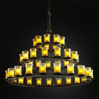 Justice Design Group GLA-8714-16-GLDC-DB Veneto Luce Dakota Forty-Five-Light Three-Tier Ring Chandelier