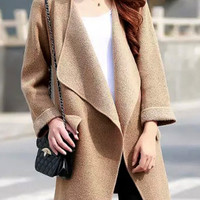 Brown Long Sleeve Pocket Knit Coat