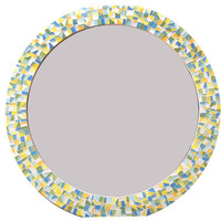 Round Mosaic Mirror -- Colorful Wall Decor -- Made to Order