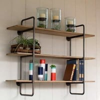 3 Tiered Metal Tube Frame Wall Shelf