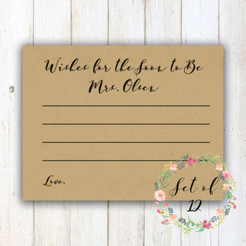 Personalized Cards // Bridal Shower // Game // Wishes for the Mrs. // Set of 12