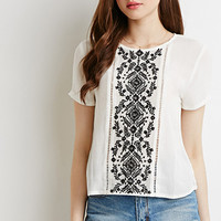Embroidered Mesh Panel Top