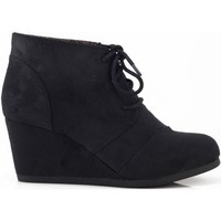 Qupid Women's Lace Up Faux Suede Ankle Wedge Booties,Rexv1.0 Black Suede 7