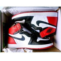 Nike Air Jordan Retro 1 Red white Contrast Sports shoes High Tops