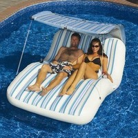 New Swimline Luxury Cabana Swimming Pool Lounger Inflatable Water Lounge Chair on eBay!